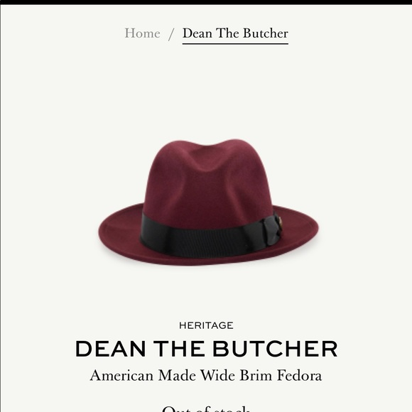 7095e0cf9d53e Goorin Bros Other - Goorin Bros Dean The Butcher Fedora Burgundy Large